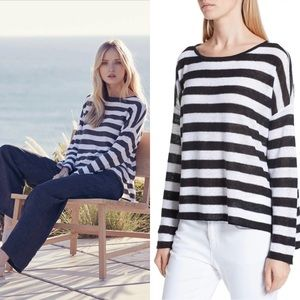 EILEEN FISHER Stripe Organic Linen Boxy Sweater